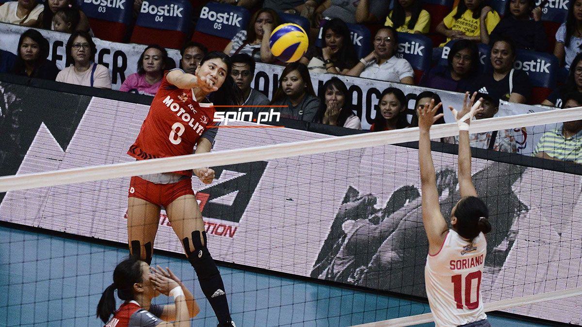Myla Pablo attacks while playing for Motolite