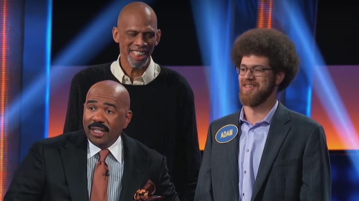 Kareem Abdul-Jabbar and Adam Abdul-Jabar with Family Feud host Steve Harvey