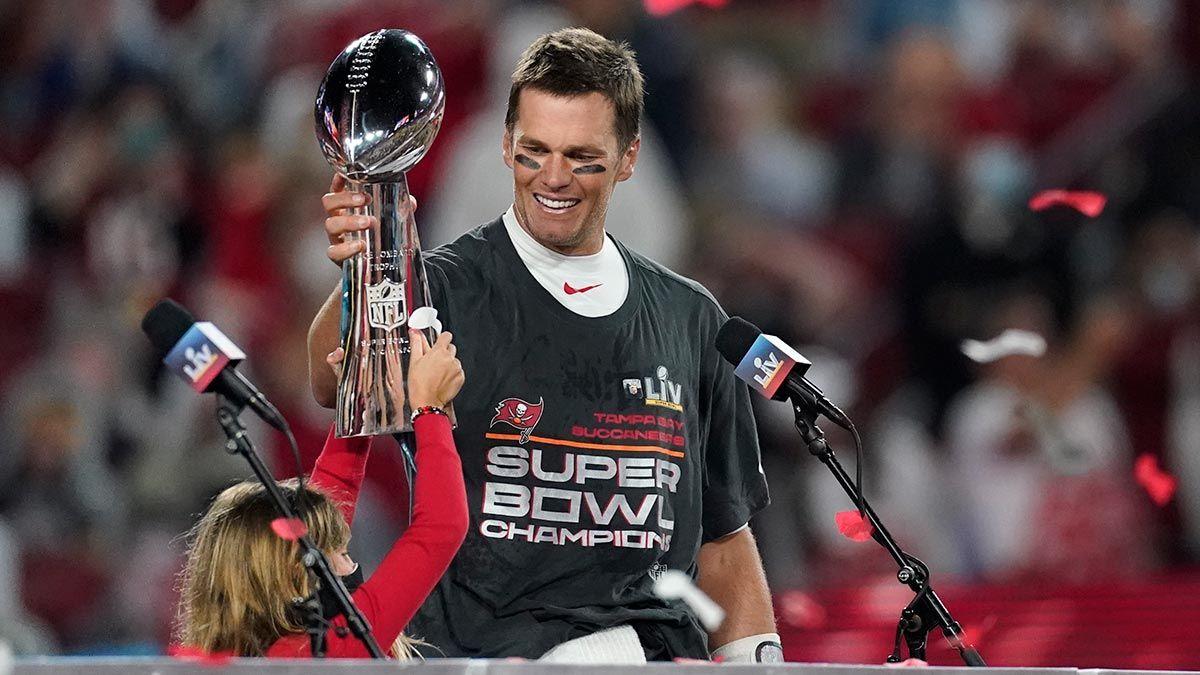Tom Brady with the NFL Super Bowl Trophy