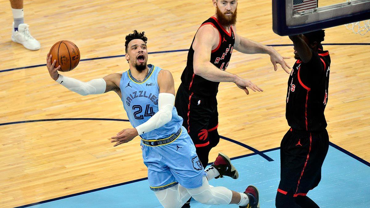 Dillon Brooks attemps an off-balance shot