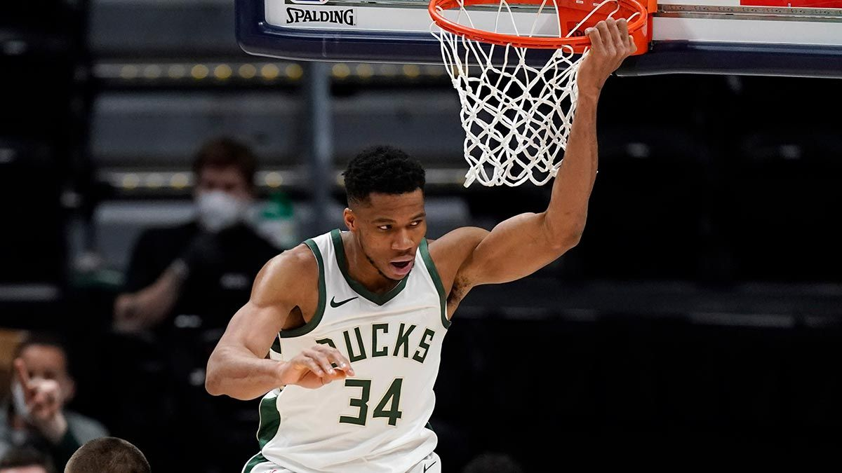 Giannis Antetokounmpo after a dunk