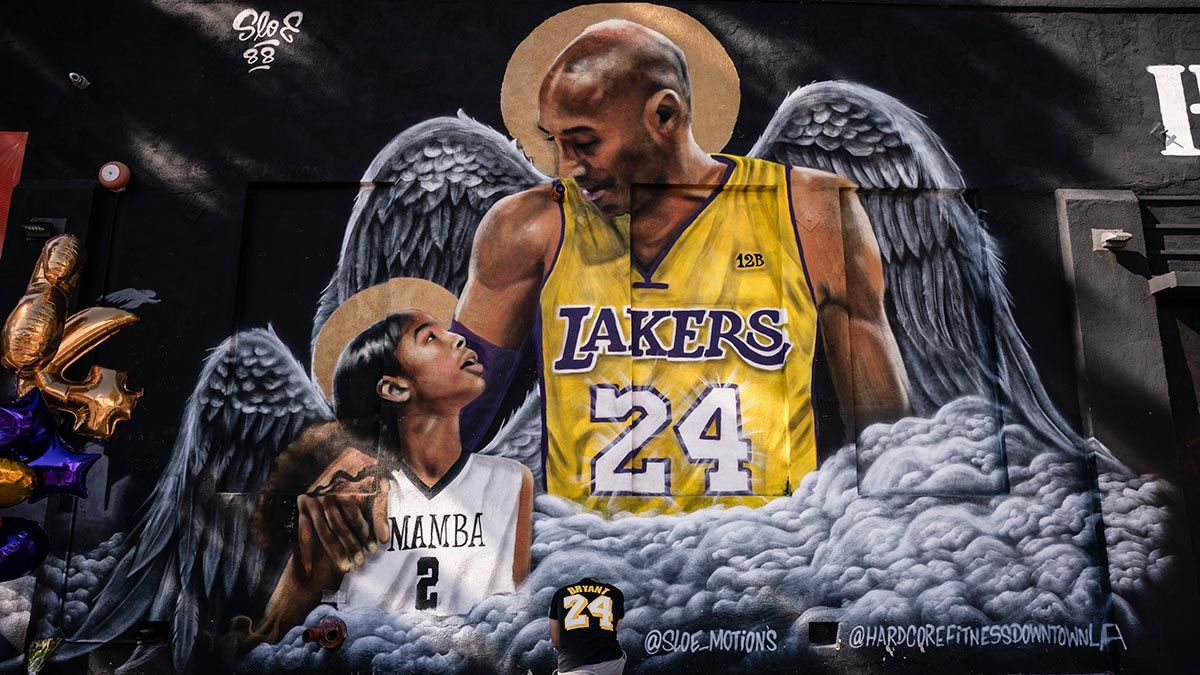 Tribute street art for Kobe and Gigi Bryant