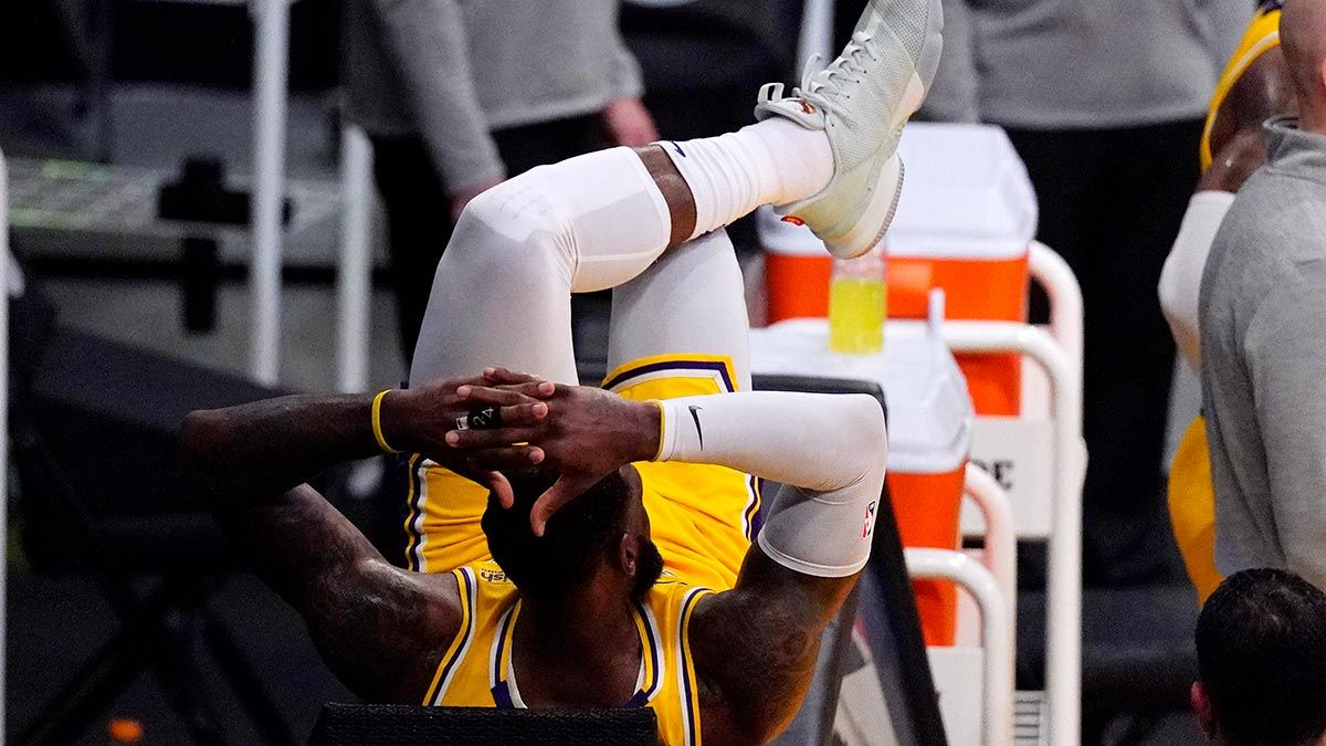 LeBron James on the Lakers' Bench