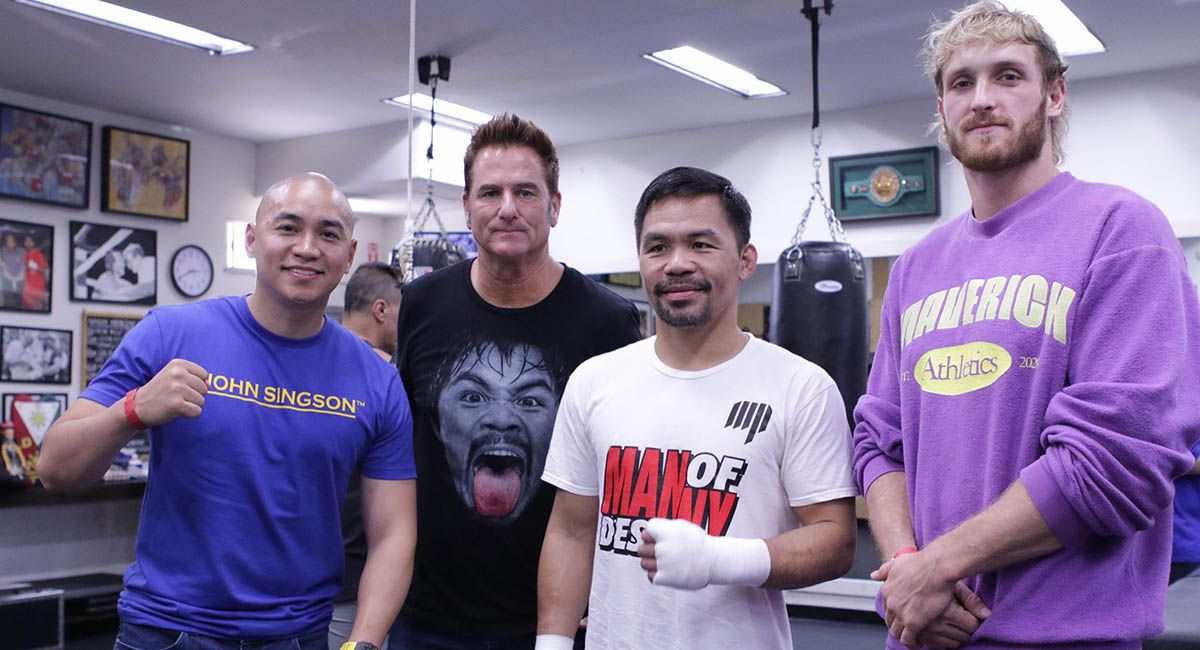 YouTube sensation Logal Paul with Manny Pacquiao, Sean Gibbons and Singson.