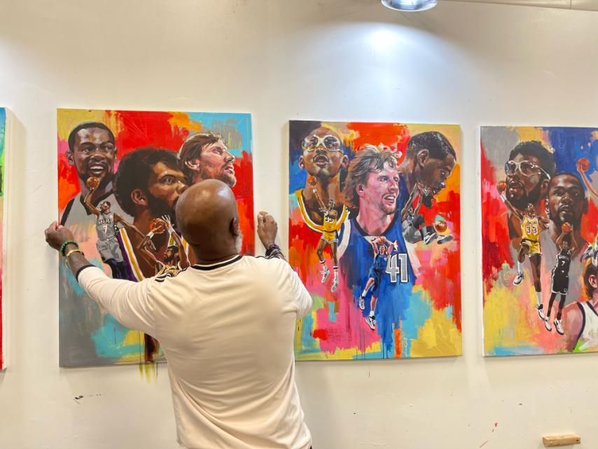 Charly Palmer with the NBA 2K22 cover paintings