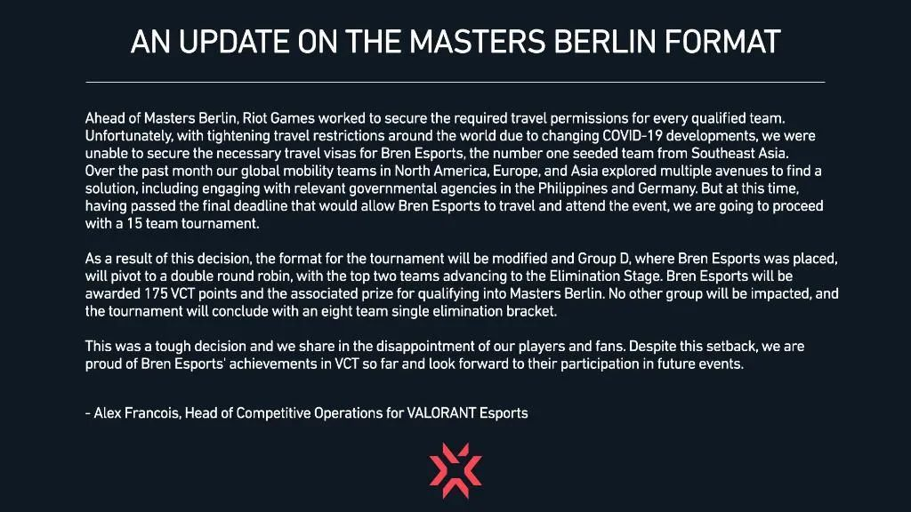 Riot Games statement on Bren Valorant visa issue