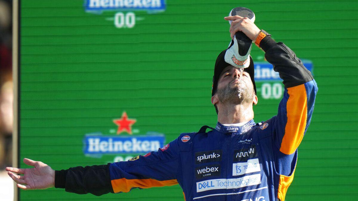 Daniel Ricciardo shoe champagne Italian GP