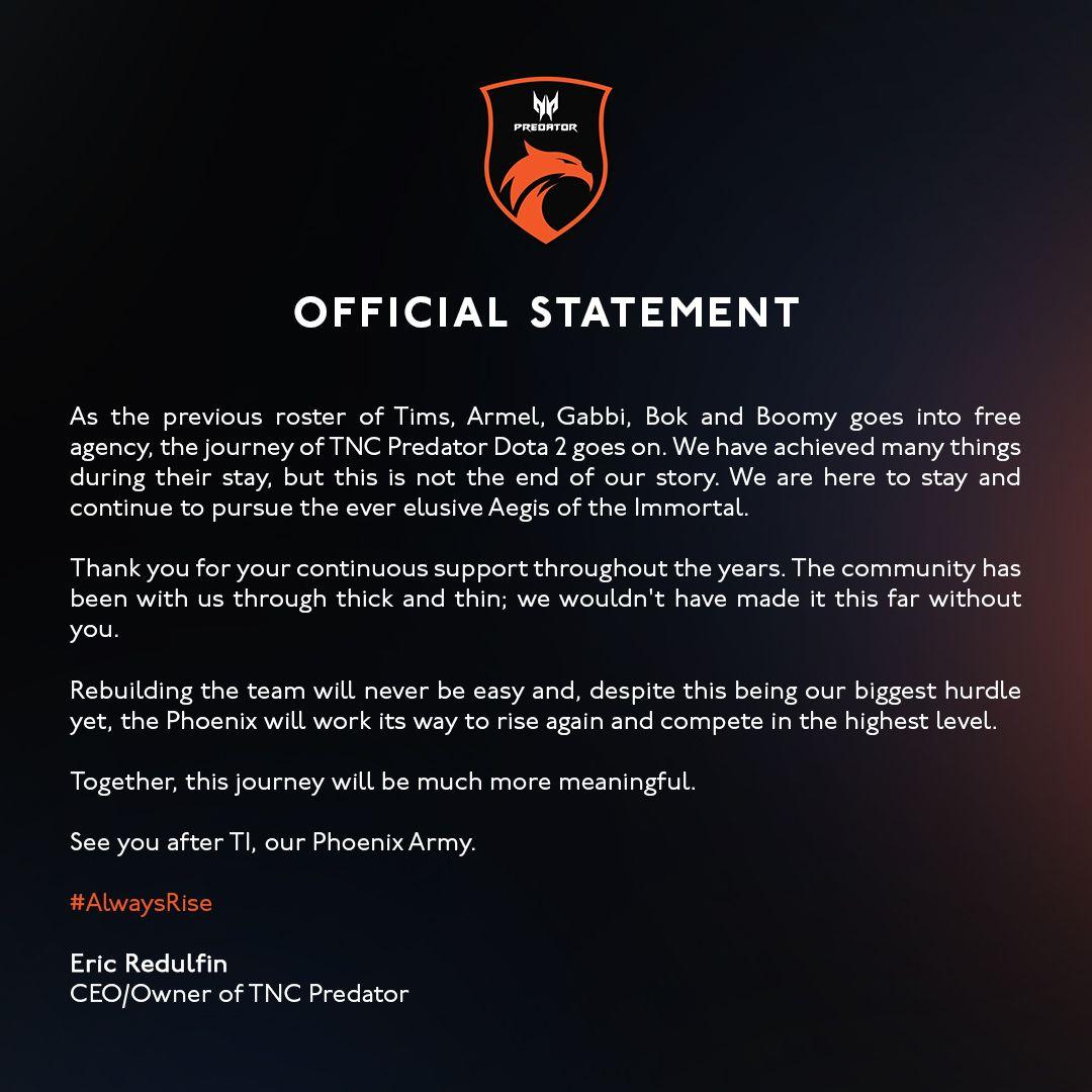 TNC Predator statement