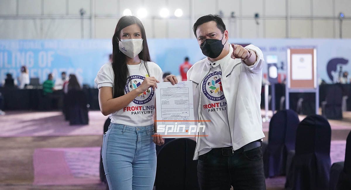 Longtime Manny Pacquiao aide Jayke Joson files his Certificate of Candidacy as nominee of party list bet Frontliners with 2021 Miss World Tracy Maureen Perez.