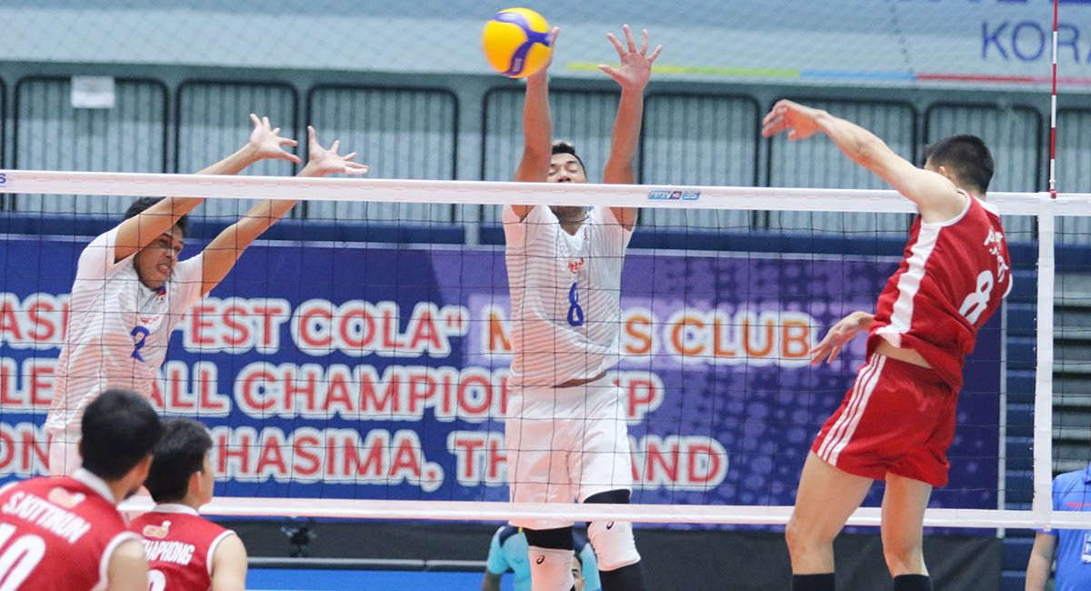 Rebisco Philippines versus Diamond Food at the 2021 Asian men's club volleyball championship.