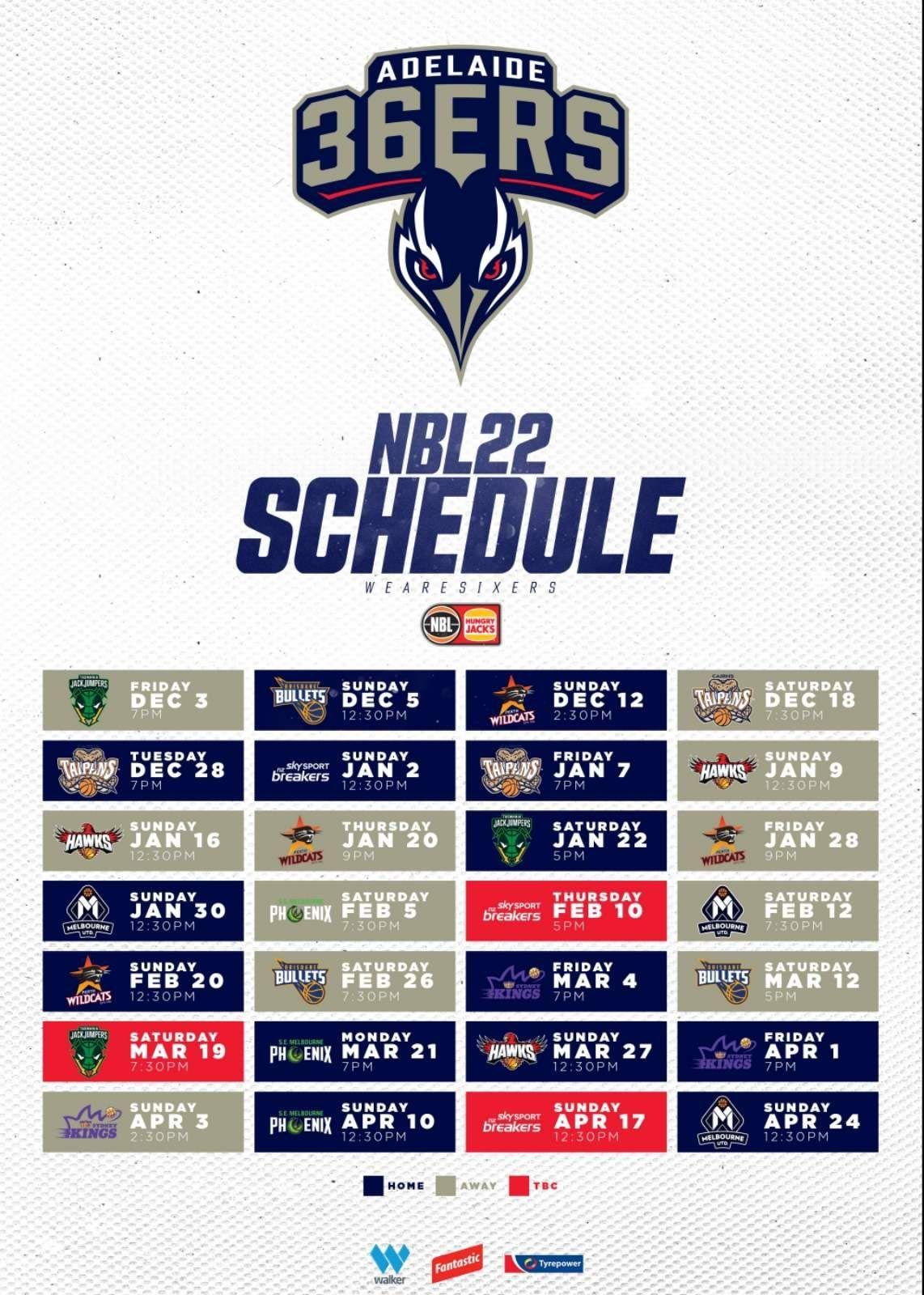 Adelaide 36ers schedule