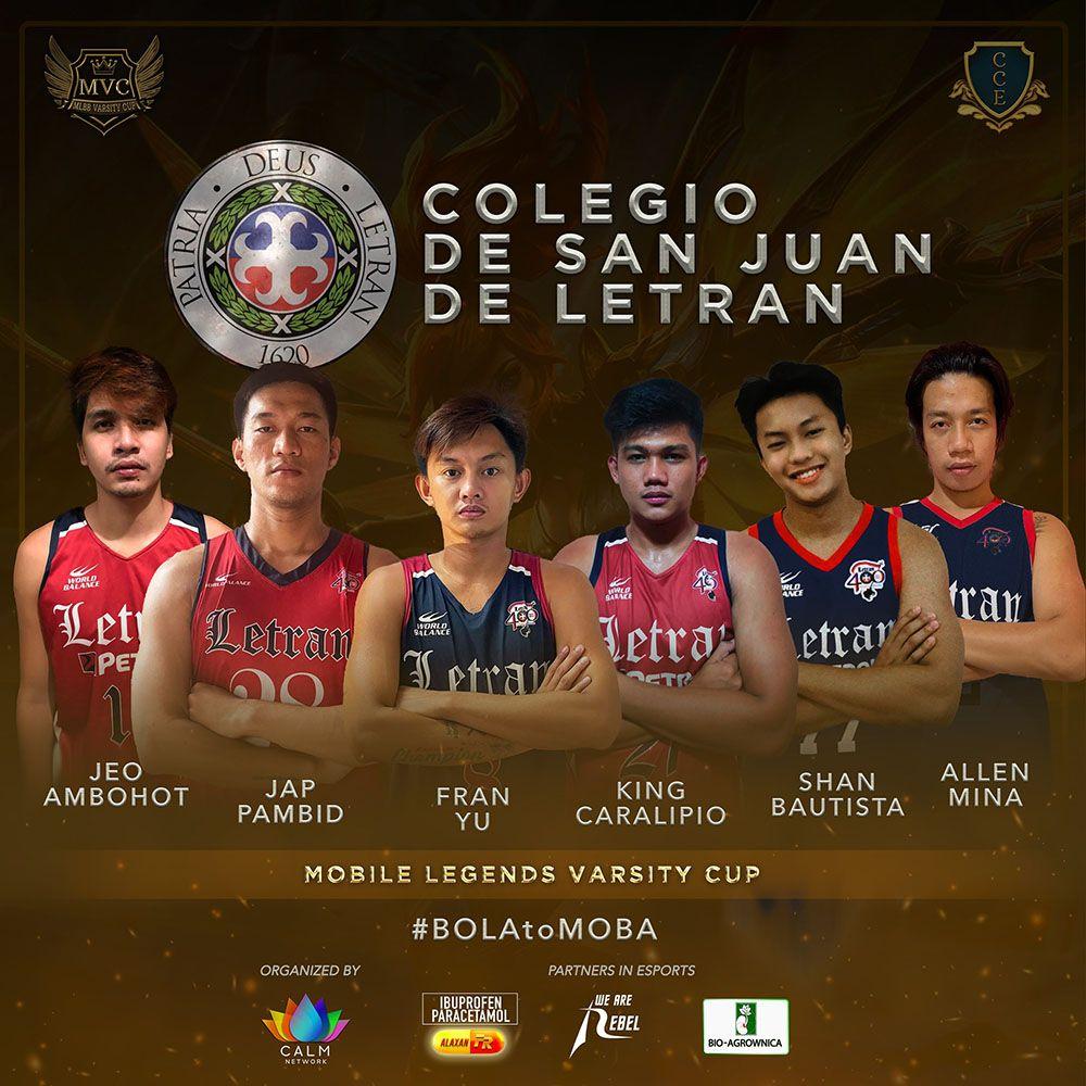 Letran lineup for Mobile Legends Varsity Cup