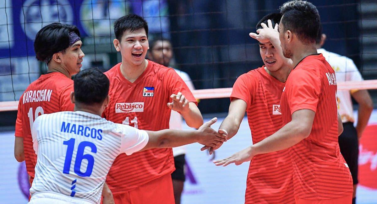 Rebisco Philippines celebrates winning a point against Sri Lanka's CEB Sports Club.