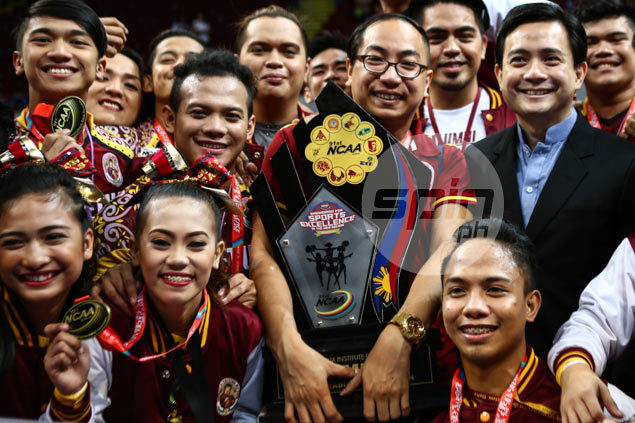 Perpetual Help coach Ruf Rosario has mixed emotions after NCAA cheerdance victory