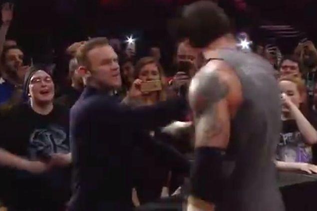 WATCH Star striker Wayne Rooney slaps wrestler Barrett in WWE Raw ringside scuffle